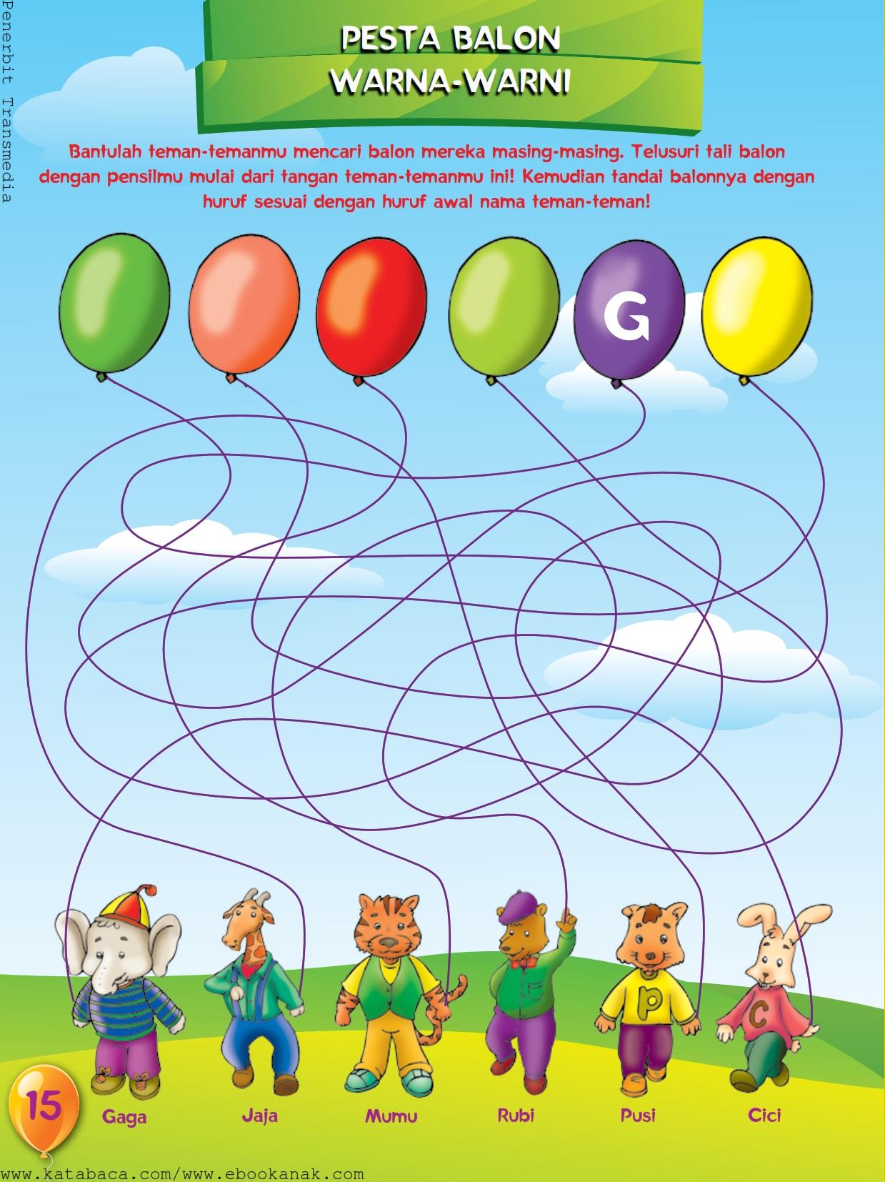 baca buku online, buku aktivitas anak jenius TK A B_018 belajar mengenal warna dan menulis huruf