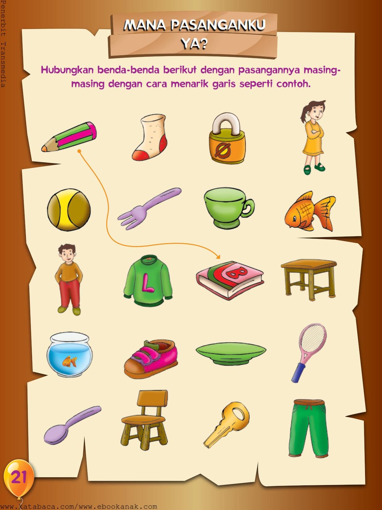 baca buku online, buku aktivitas anak jenius TK A B_024 menghubungkan pasangan gambar yang sesuai