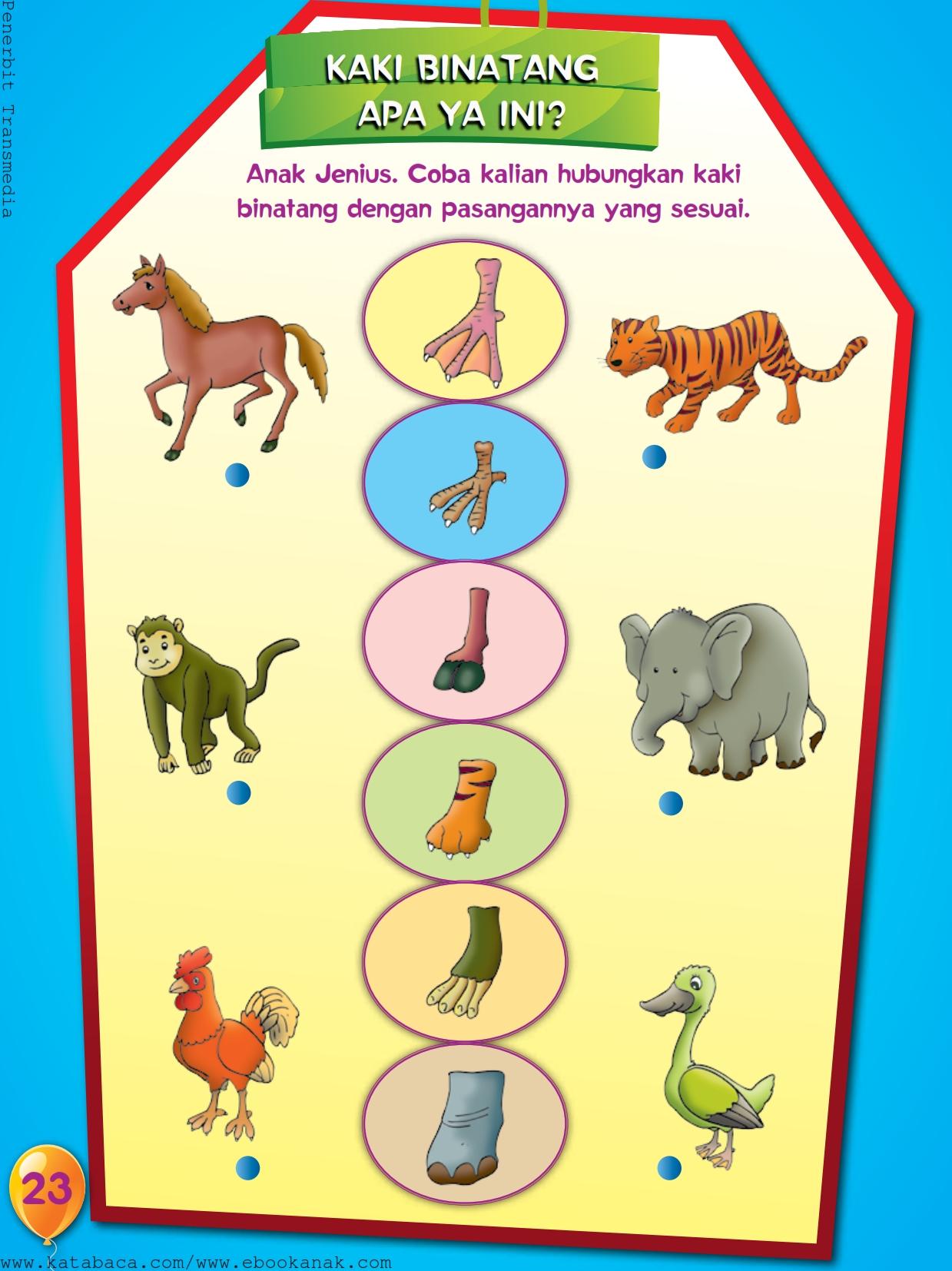 baca buku online, buku aktivitas anak jenius TK A B_026 belajar mengenal jenis-jenis kaki binatang