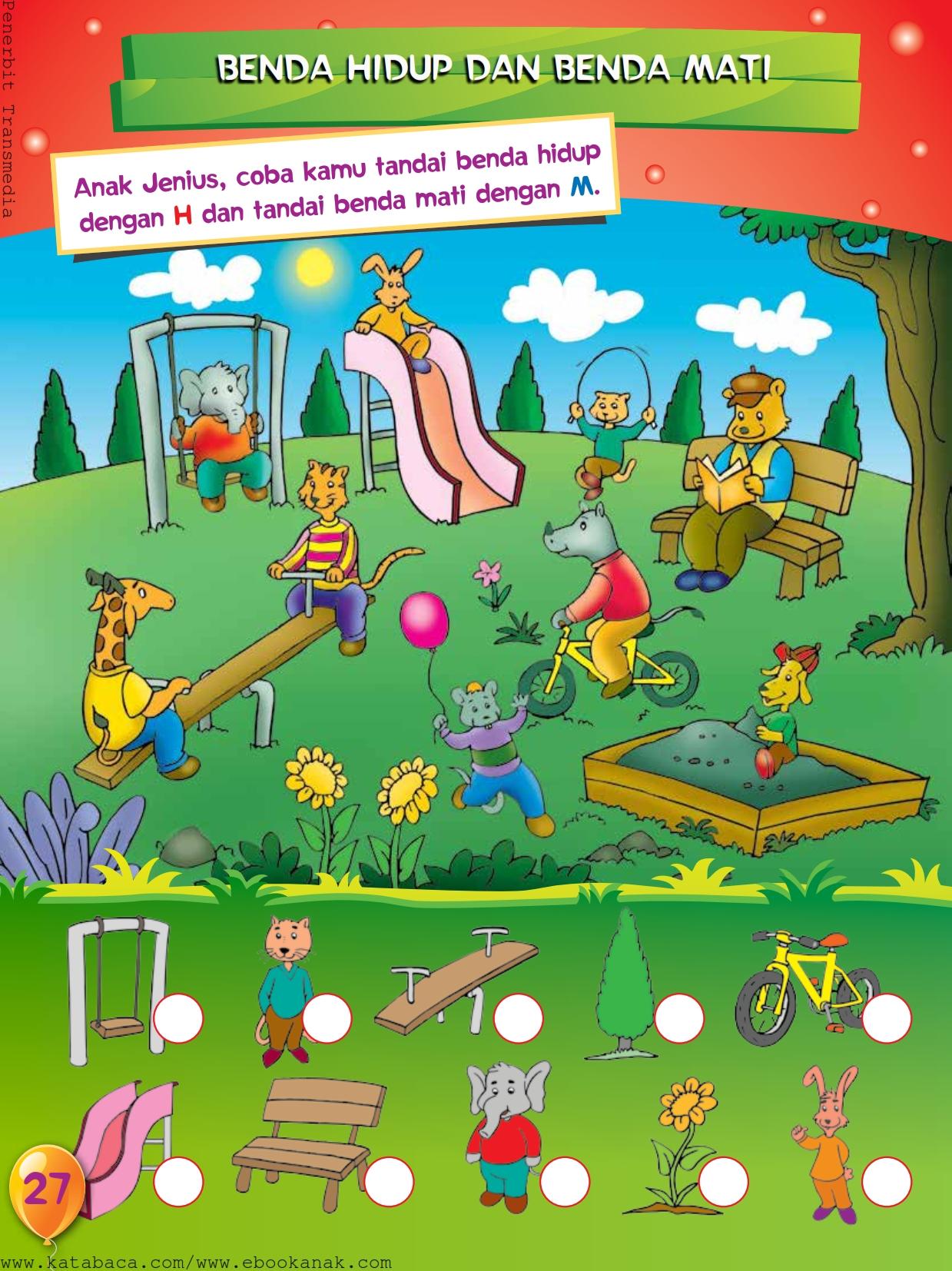 baca buku online, buku aktivitas anak jenius TK A B_030 belajar mengenal makhluk hidup dan benda mati