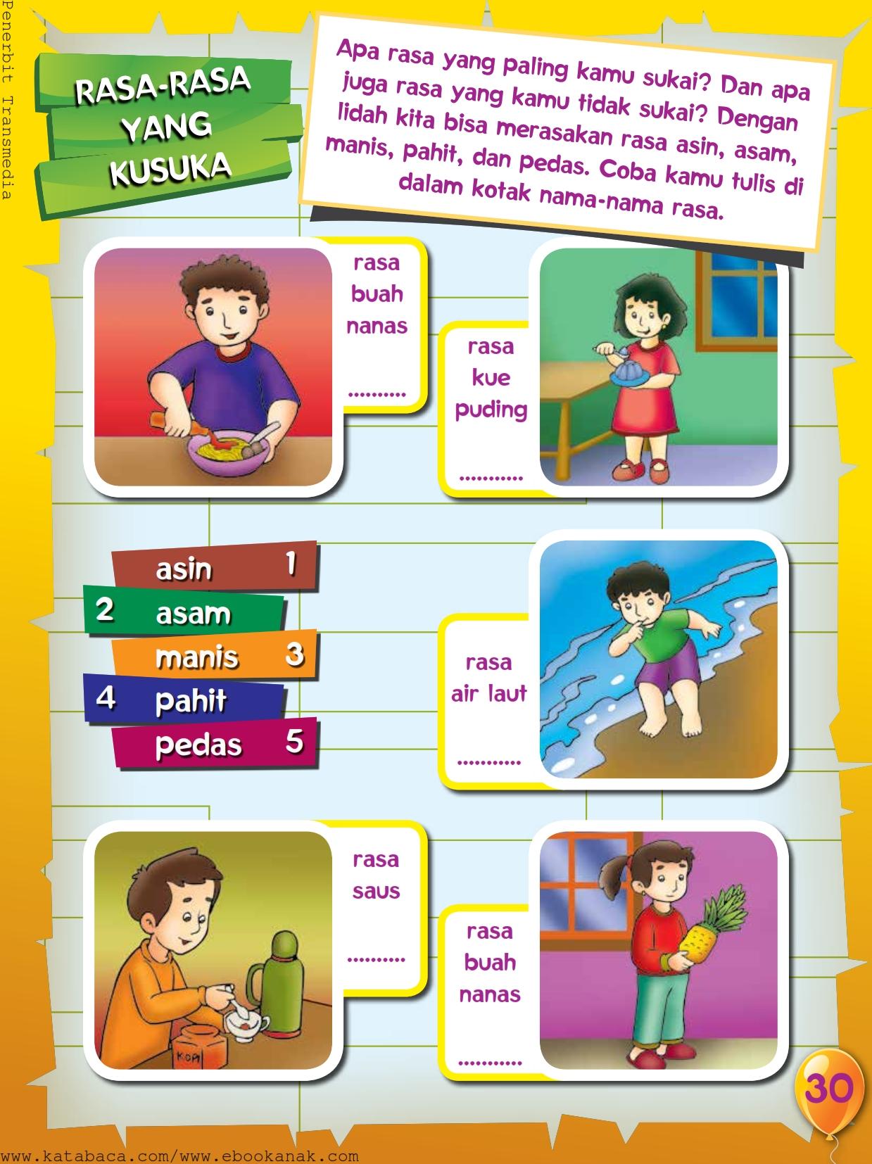 baca buku online, buku aktivitas anak jenius TK A B_033 mengenal nama-nama rasa