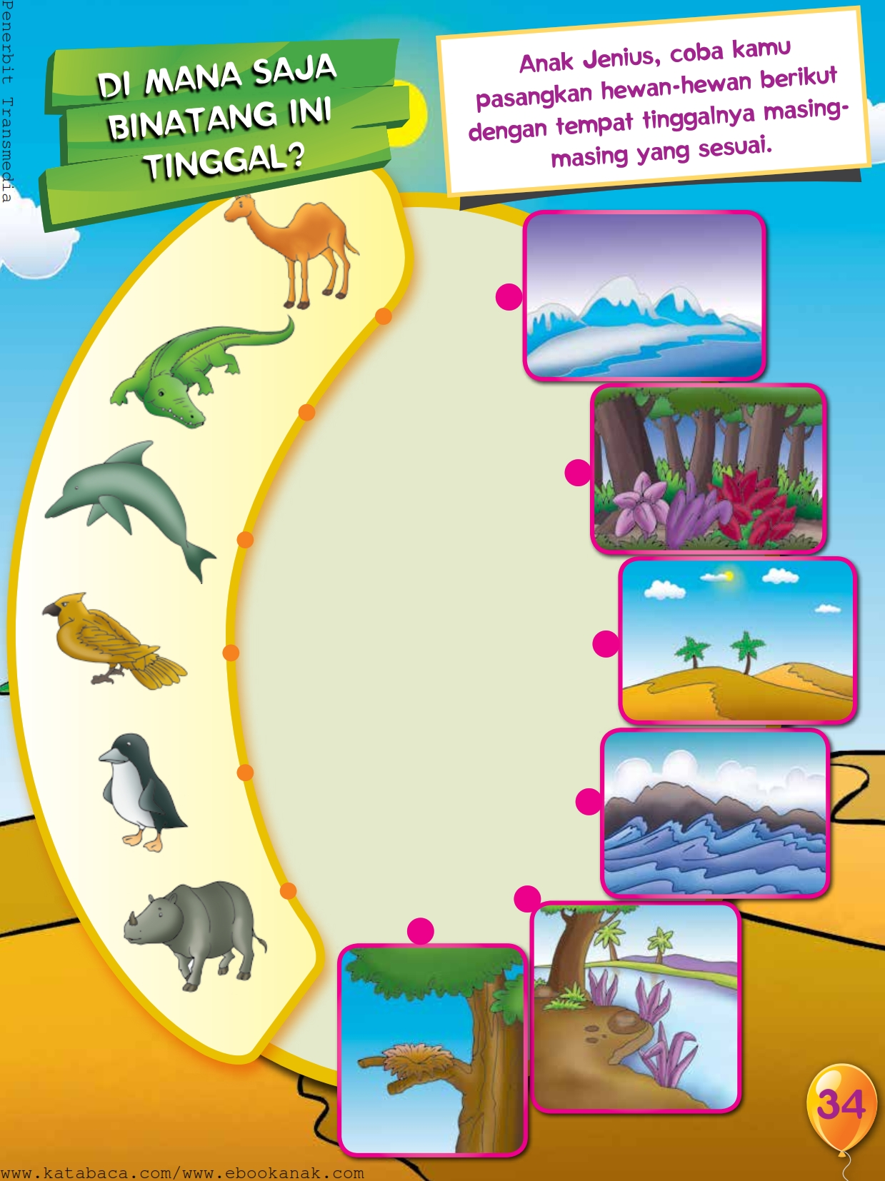 baca buku online, buku aktivitas anak jenius TK A B_037 mengenal tempat tinggal hewan