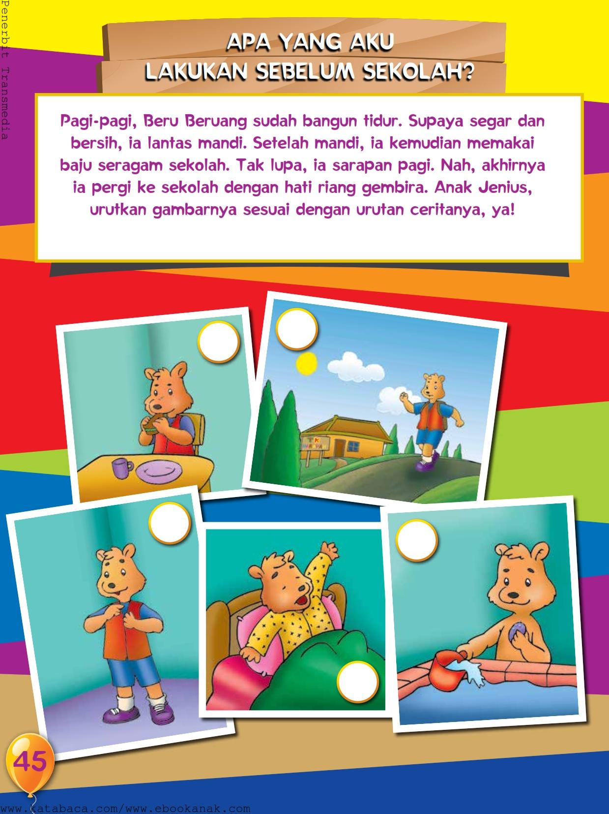 baca buku online, buku aktivitas anak jenius TK A B_048 mengurutkan gambar cerita beru beruang pergi ke sekolah