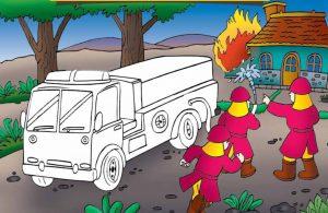 baca buku online, buku aktivitas anak jenius TK A B_056 mewarnai gambar mobil pemadam kebakaran