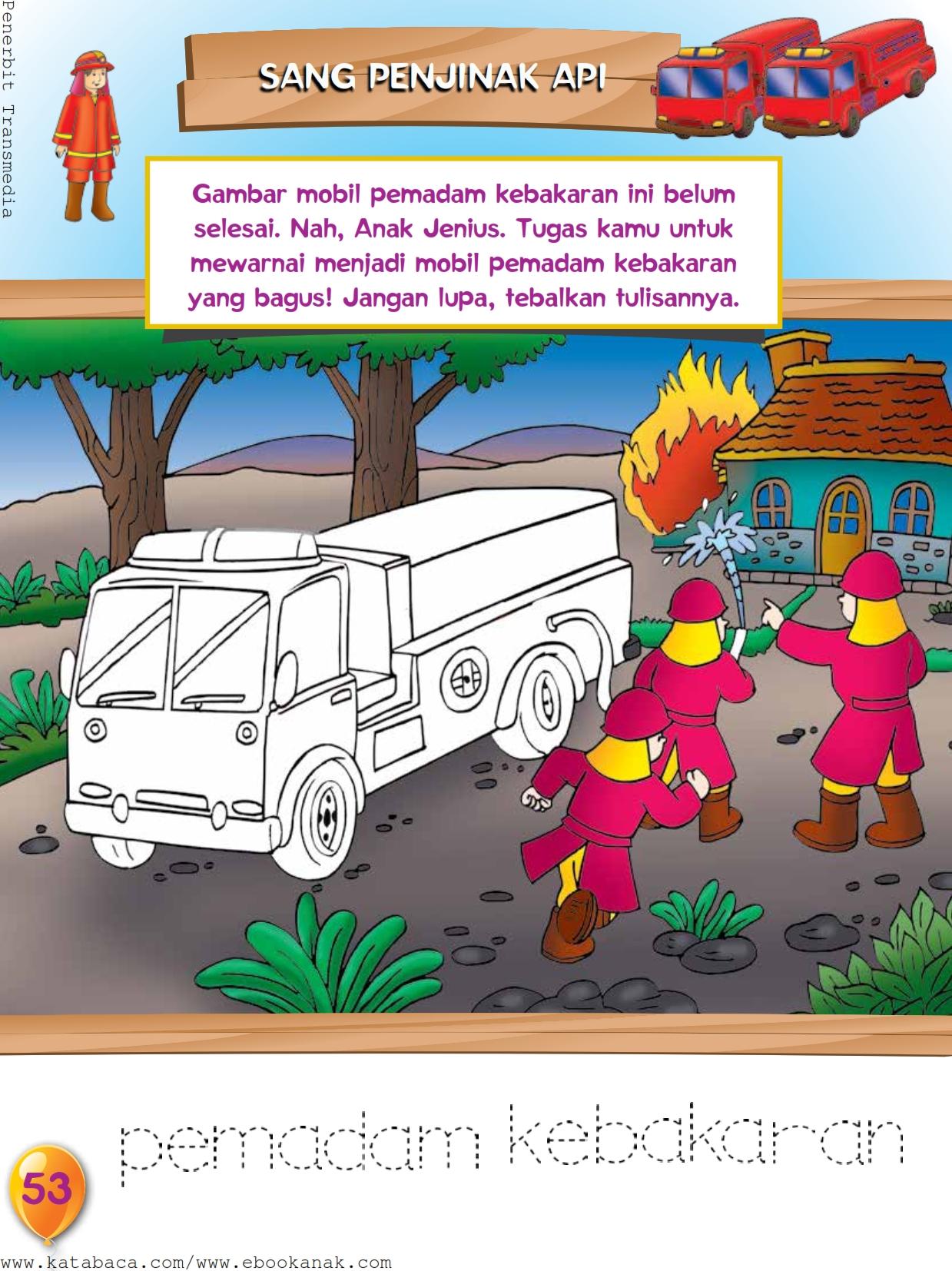 Mewarnai Gambar Mobil Pemadam Kebakaran Ebook Anak