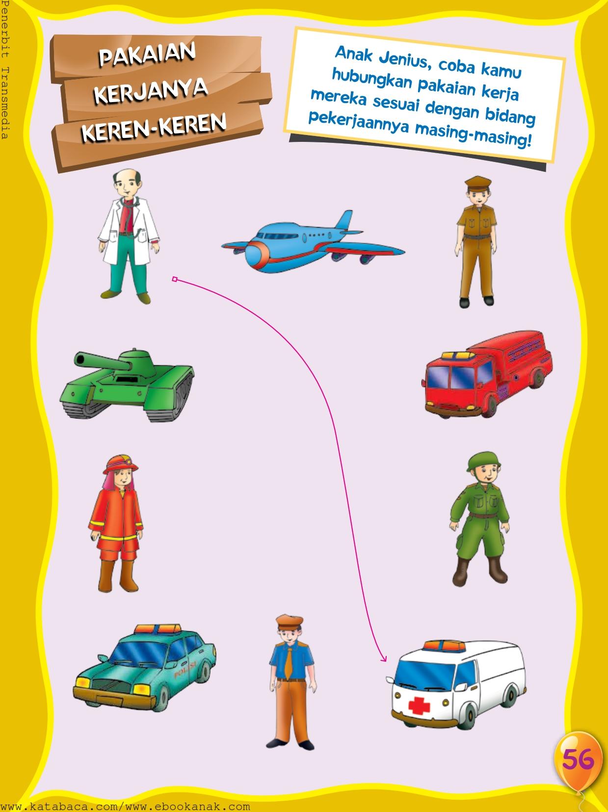baca buku online, buku aktivitas anak jenius TK A B_059 mengenal seragam dan profesi