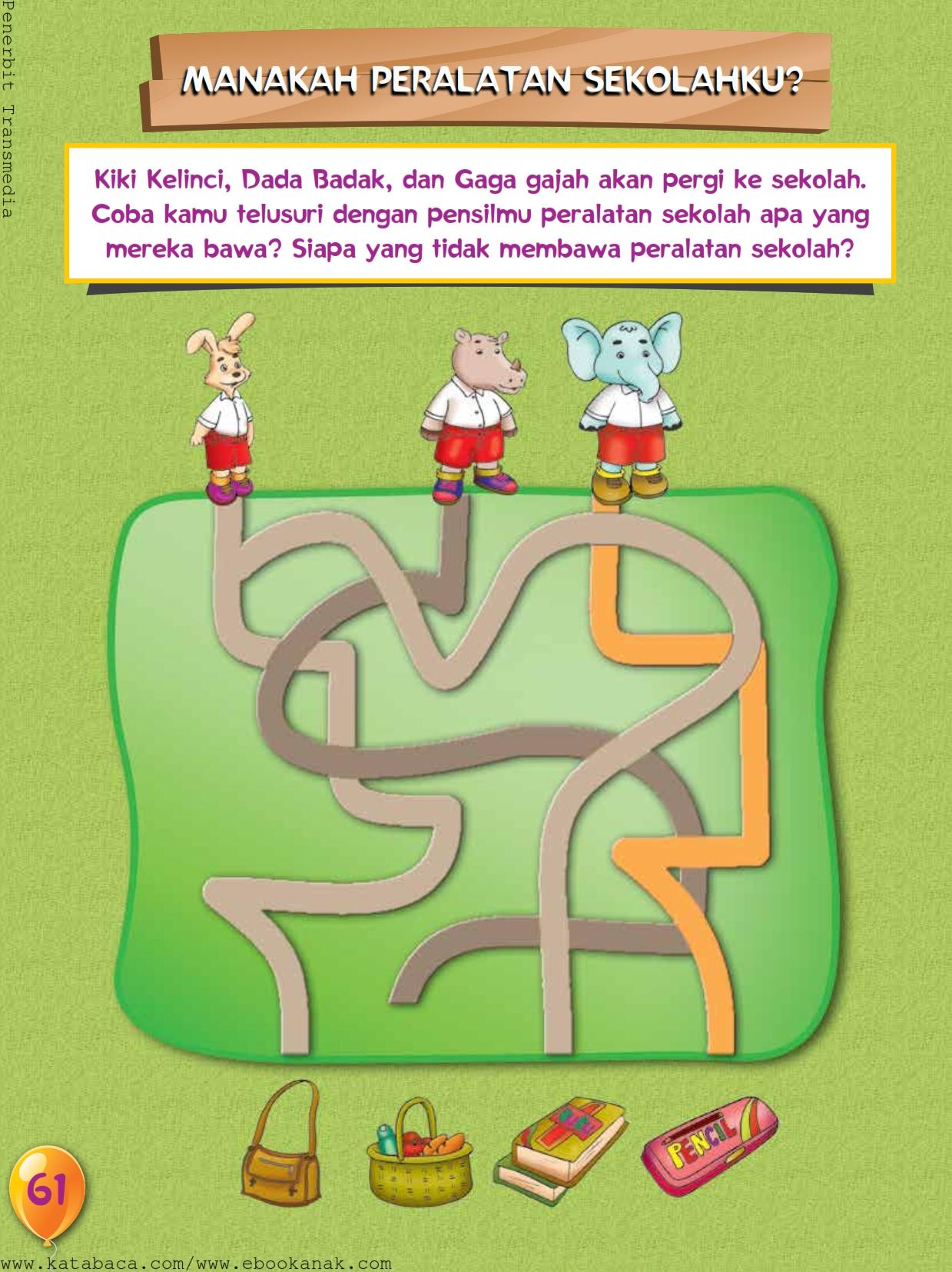 baca buku online, buku aktivitas anak jenius TK A B_064 mengenal nama-nama peralatan sekolah