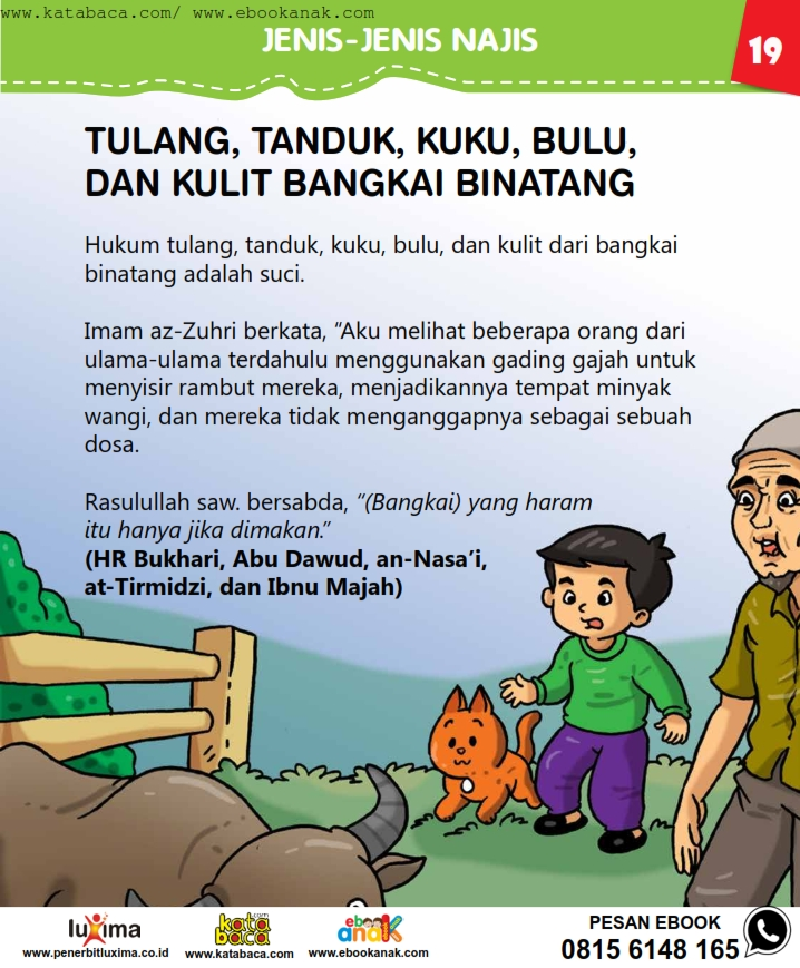baca buku online, fiqih islam bergambar jilid 1_023 Hukum Tulang, Tanduk, Kuku, Bulu, dan Kulit Bangkai Hewan