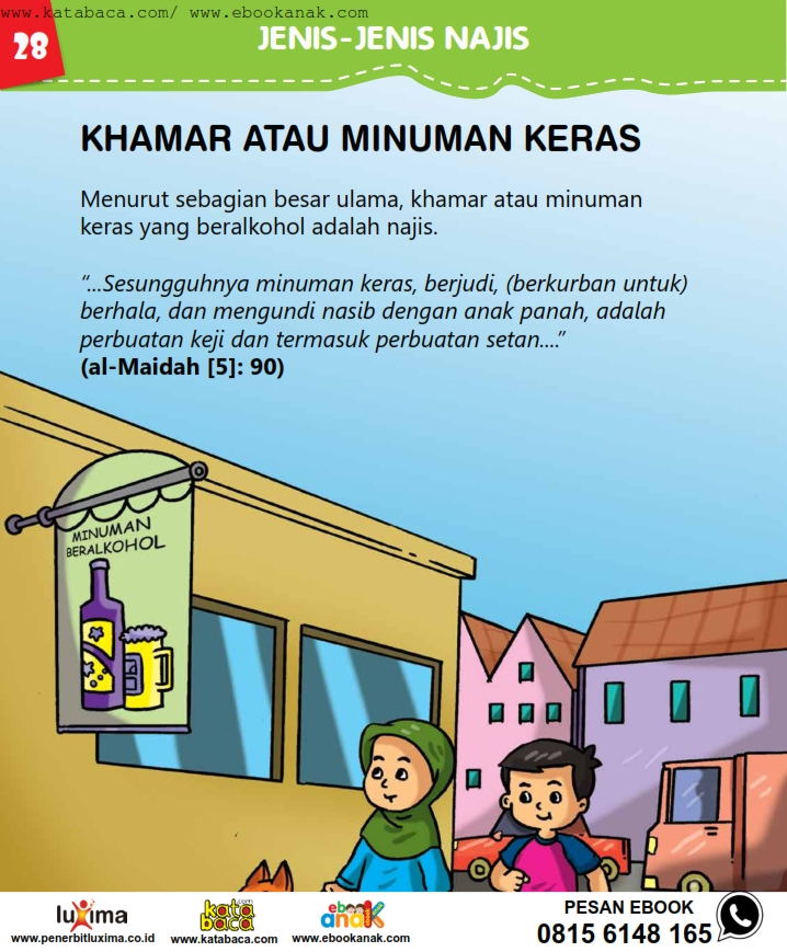 baca buku online, fiqih islam bergambar jilid 1_032 Apakah Minuman Keras atau Khamar itu Najis