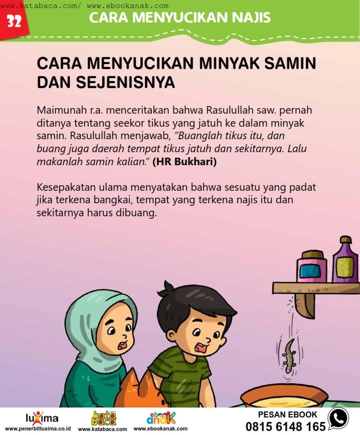 baca buku online, fiqih islam bergambar jilid 1_036 Bagaimana Cara Membersihkan Makanan Jika Terkena Kotoran
