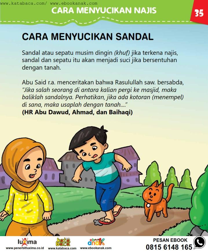 baca buku online, fiqih islam bergambar jilid 1_039 Bagaimana Cara Menyucikan Sandal yang Terkena Kotoran Najis