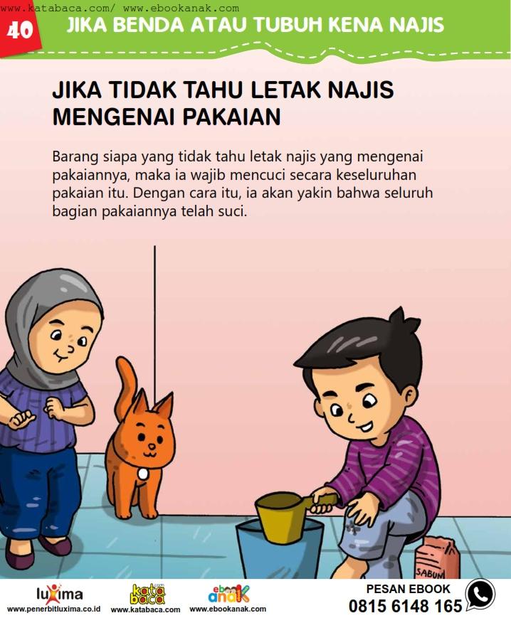 baca buku online, fiqih islam bergambar jilid 1_044 Hukum Jika Tidak Tahu Letak Najis Mengenai Pakaian