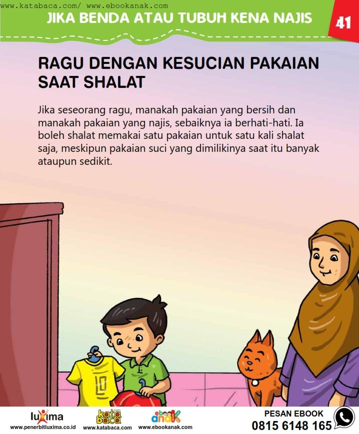 baca buku online, fiqih islam bergambar jilid 1_045 Meragukan Kesucian Pakaian Saat Shalat