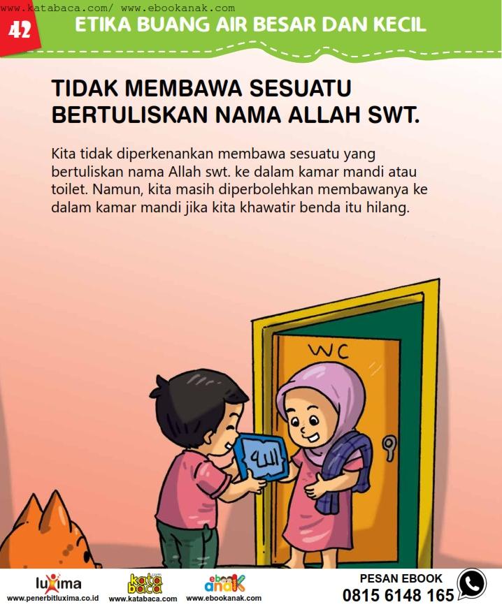baca buku online, fiqih islam bergambar jilid 1_046 Bolehkah Kita Membawa Sesuatu Bertuliskan Nama Allah ke Toilet