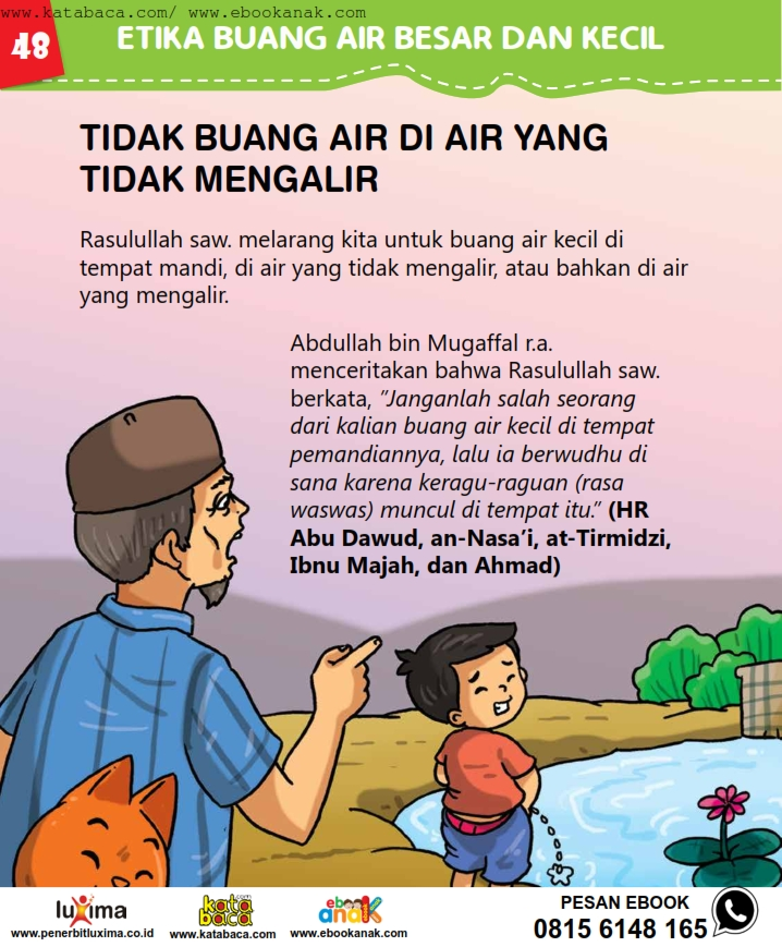 baca buku online, fiqih islam bergambar jilid 1_052 Bolehkah Kita Buang Air di Air yang Tidak Mengalir