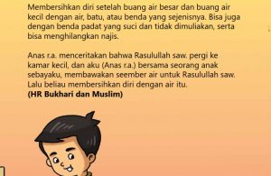 baca buku online, fiqih islam bergambar jilid 1_054 Bagaimana Cara Nabi Membersihkan Diri Setelah Buang Air Kecil
