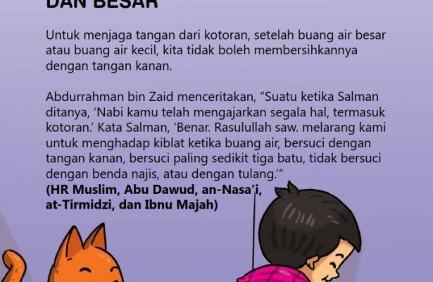 baca buku online, fiqih islam bergambar jilid 1_055 Bolehkah Bersuci dengan Tangan Kanan Setelah Buang Air Besar dan Kecil