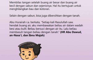 baca buku online, fiqih islam bergambar jilid 1_056 Cara Nabi Membersihkan Tangan Setelah Buang Air Besar dan Kecil