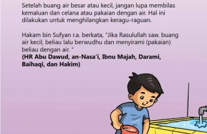 baca buku online, fiqih islam bergambar jilid 1_057 Nabi Berwudhu dan Menyirami Pakaian dengan Air Setelah Buang Air Kecil