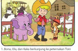 bona gajah kecil berbelalai panjang, menjadi koboi