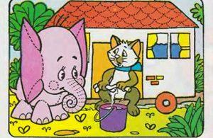 bona gajah kecil berbelalai panjang, potongan ubin