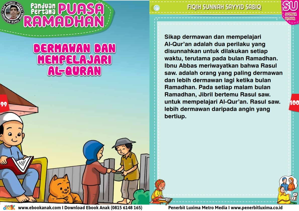 panduan pertama anak puasa ramadhan, Dermawan dan Mempelajari Al Quran (50)