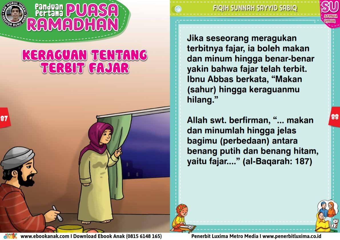 panduan pertama anak puasa ramadhan, Keraguan Tentang Terbit Fajar (44)