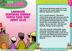 panduan pertama anak puasa ramadhan, Larangan Berpuasa Sunnah Hanya pada Hari Jumat Saja 25