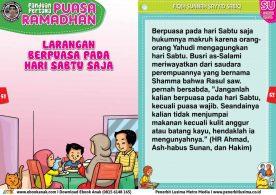 panduan pertama anak puasa ramadhan, Larangan Berpuasa pada Hari Sabtu Saja (26)