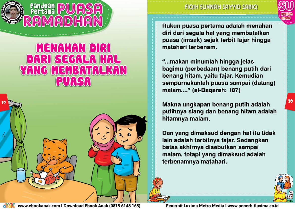 panduan pertama anak puasa ramadhan, Menahan Diri dari Segala Hal yang Membatalkan Puasa 10