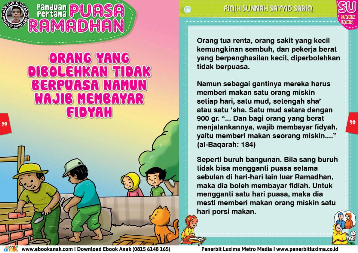 panduan pertama anak puasa ramadhan, Orang yang Dibolehkan Tidak Berpuasa Namun Wajib Membayar Fidyah 15