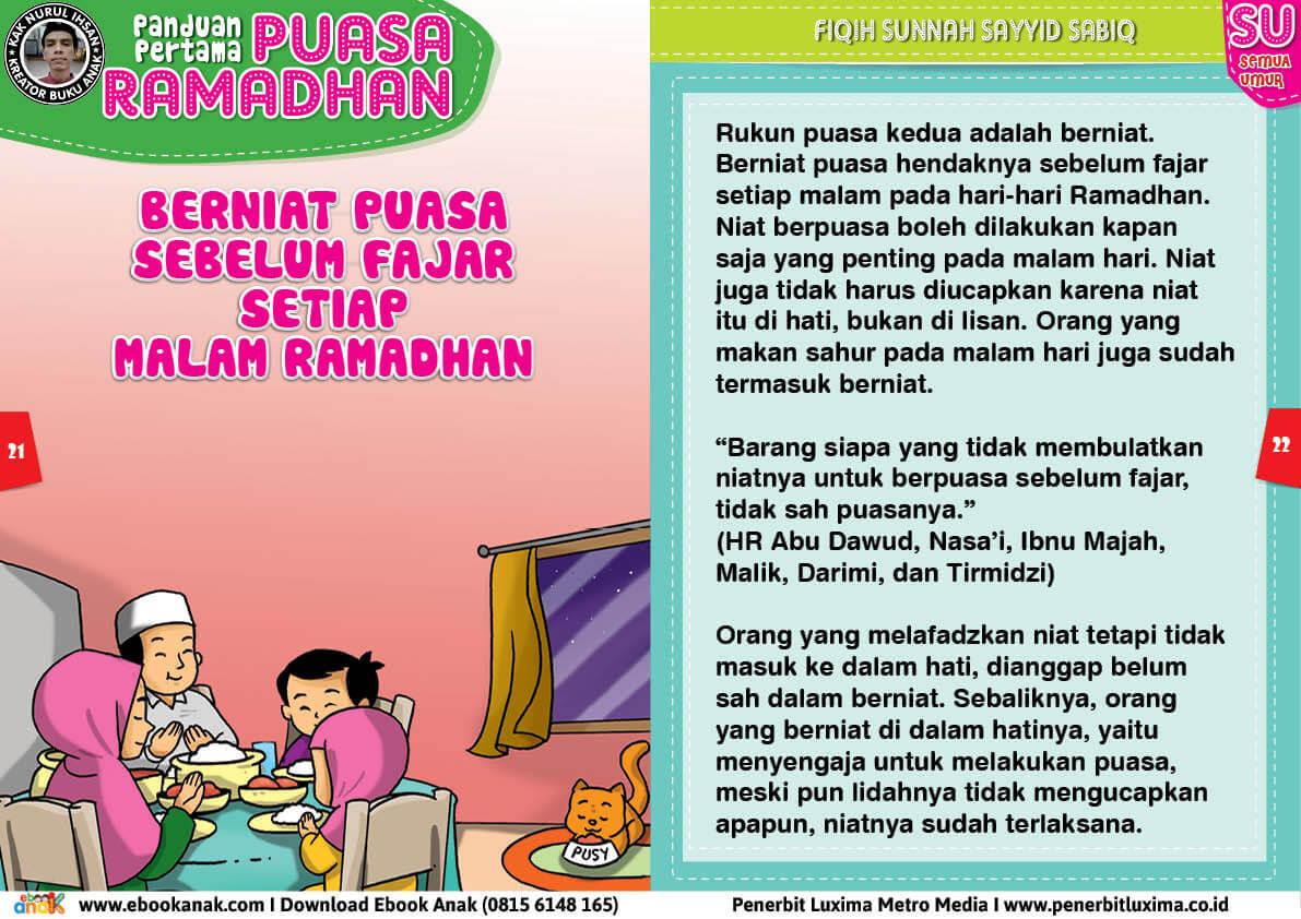 panduan pertama anak puasa ramadhan, Rukun Puasa Berniat Puasa Sebelum Fajar Setiap Malam di Bulan Ramadhan 11