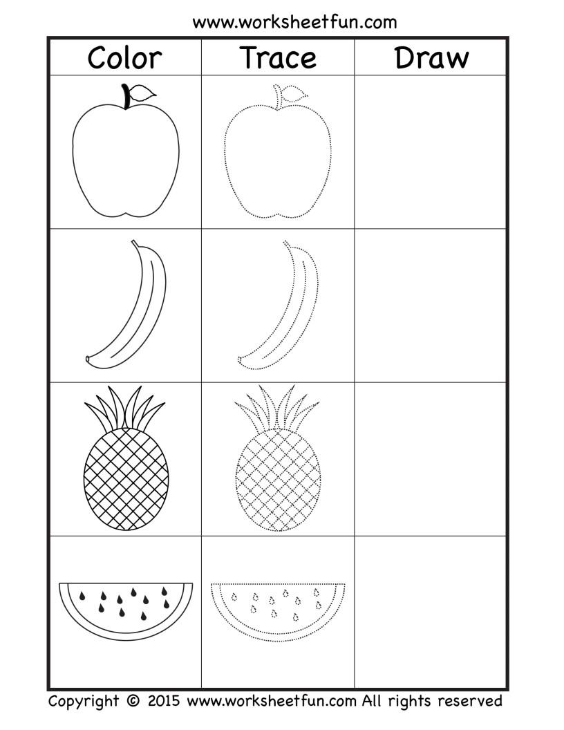 worksheets mewarnai, menebalkan, mewarnai buah buahan